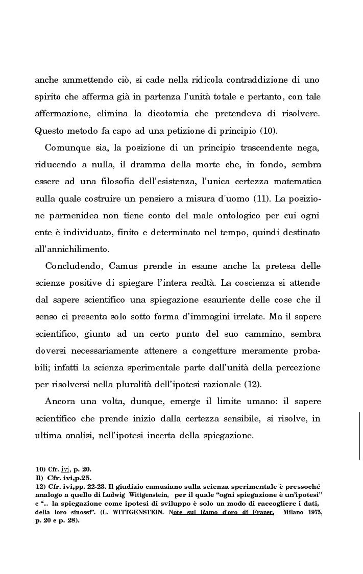 Anteprima della tesi: La rivolta della coscienza e il tentativo di soluzione del nichilismo nel pensiero di Albert Camus, Pagina 10
