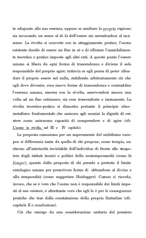 Anteprima della tesi: La rivolta della coscienza e il tentativo di soluzione del nichilismo nel pensiero di Albert Camus, Pagina 2