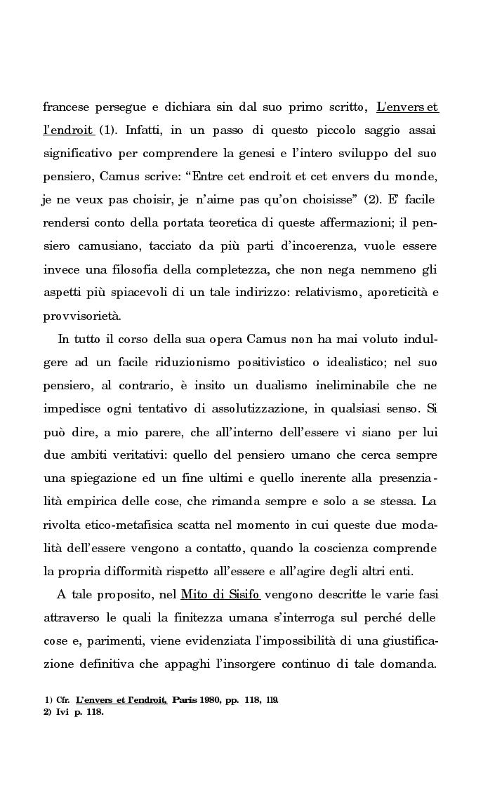 Anteprima della tesi: La rivolta della coscienza e il tentativo di soluzione del nichilismo nel pensiero di Albert Camus, Pagina 6