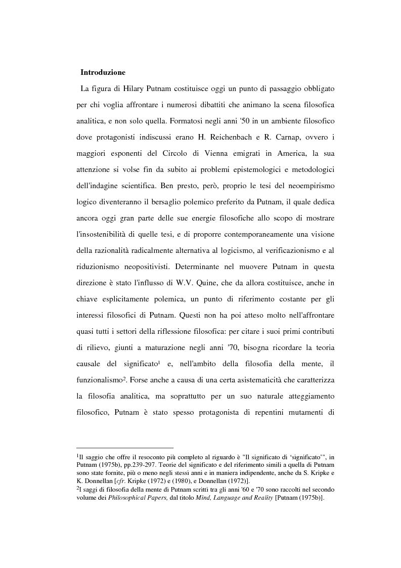 Anteprima della tesi: La filosofia della scienza di Hilary Putnam, Pagina 1