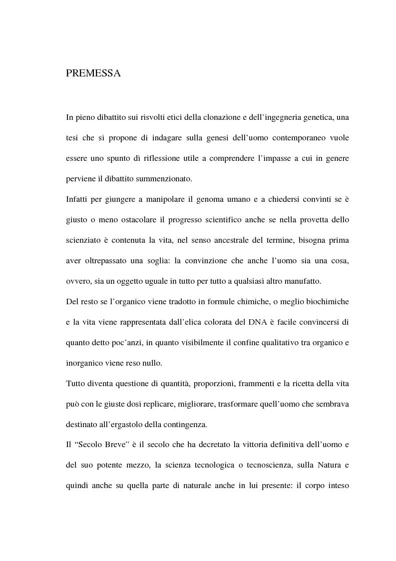 Anteprima della tesi: Alcuni aspetti della metamorfosi tecnologica dell'uomo, Pagina 1