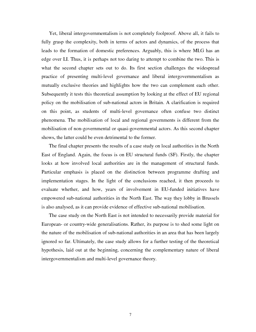 Anteprima della tesi: The Nature of the Interactions between Local Authorities and the EU. A Case Study from the North East of England, Pagina 2