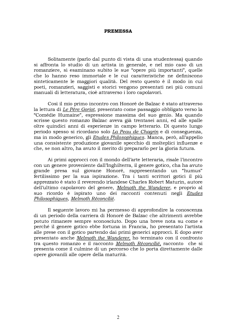 Anteprima della tesi: Melmoth the Wanderer di Charles Robert Maturin e Melmoth Reconciliè di Honorè de Balzac, Pagina 1