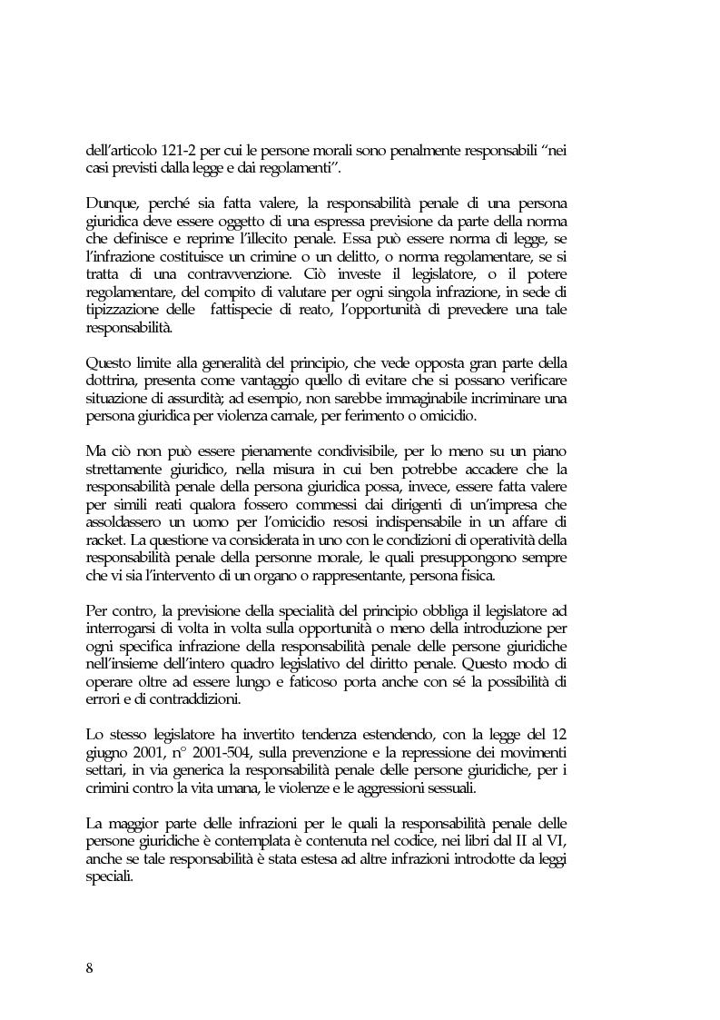 Anteprima della tesi: La responsabilità penale delle persone giuridiche nel Nuovo Codice penale francese, Pagina 14