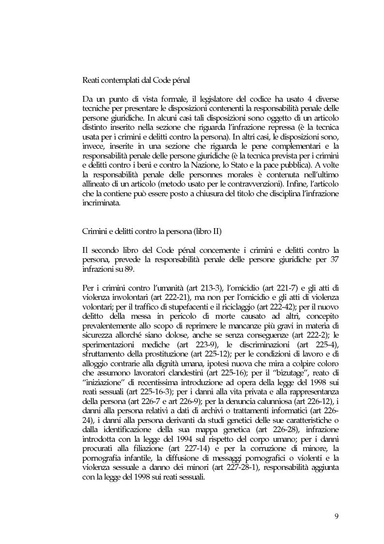 Anteprima della tesi: La responsabilità penale delle persone giuridiche nel Nuovo Codice penale francese, Pagina 15