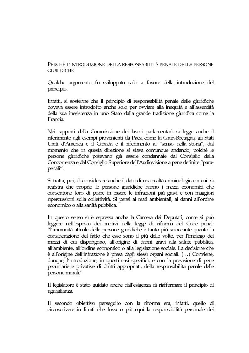 Anteprima della tesi: La responsabilità penale delle persone giuridiche nel Nuovo Codice penale francese, Pagina 4
