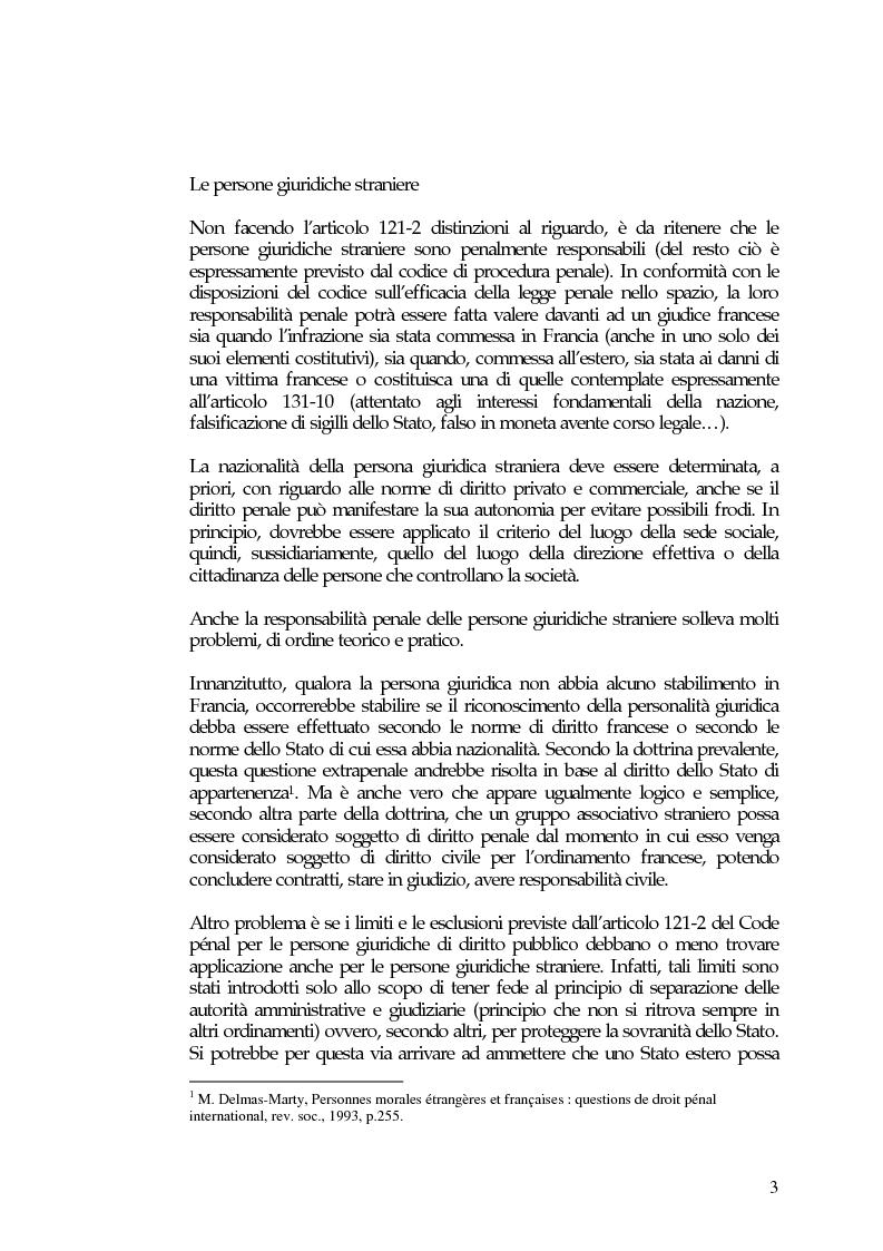 Anteprima della tesi: La responsabilità penale delle persone giuridiche nel Nuovo Codice penale francese, Pagina 9
