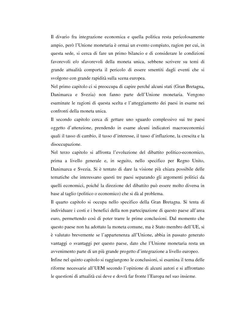 Anteprima della tesi: Benefici e costi dell'Unione Monetaria Europea: l'esempio di Gran Bretagna, Danimarca e Svezia, Pagina 2