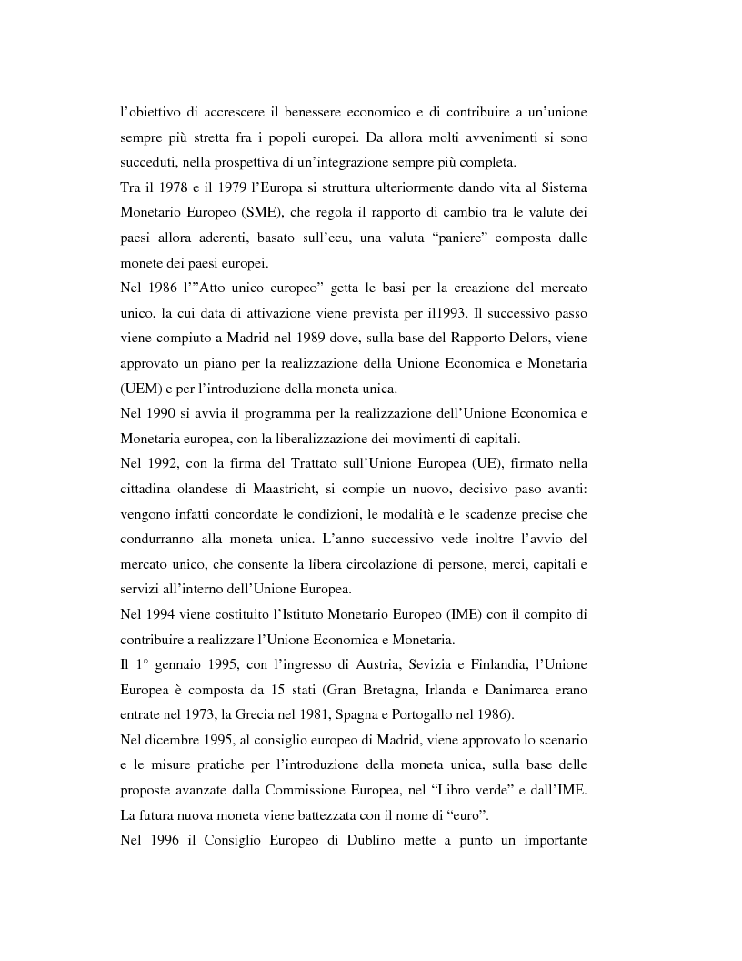 Anteprima della tesi: Benefici e costi dell'Unione Monetaria Europea: l'esempio di Gran Bretagna, Danimarca e Svezia, Pagina 5