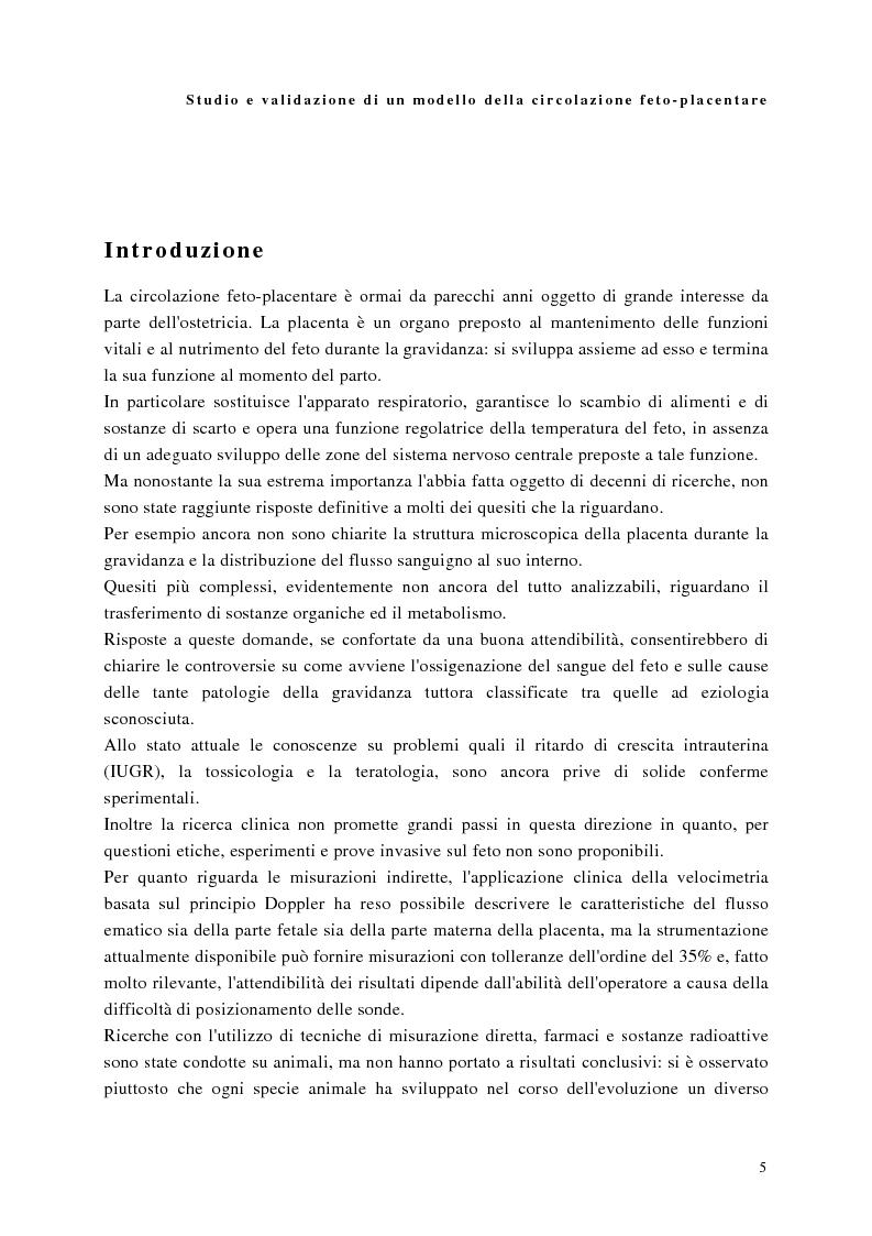 Anteprima della tesi: Studio e validazione di un modello di circolazione fetoplacentare, Pagina 1
