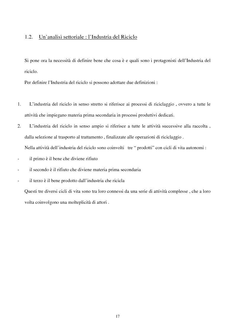 Anteprima della tesi: L'industria del riciclo dei rifiuti solidi. Il caso del legno, Pagina 12