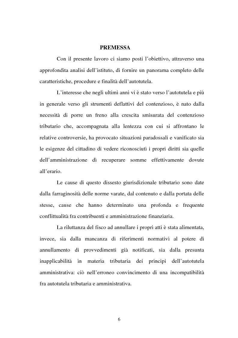 Anteprima della tesi: L'autotutela nell'ordinamento tributario, Pagina 1