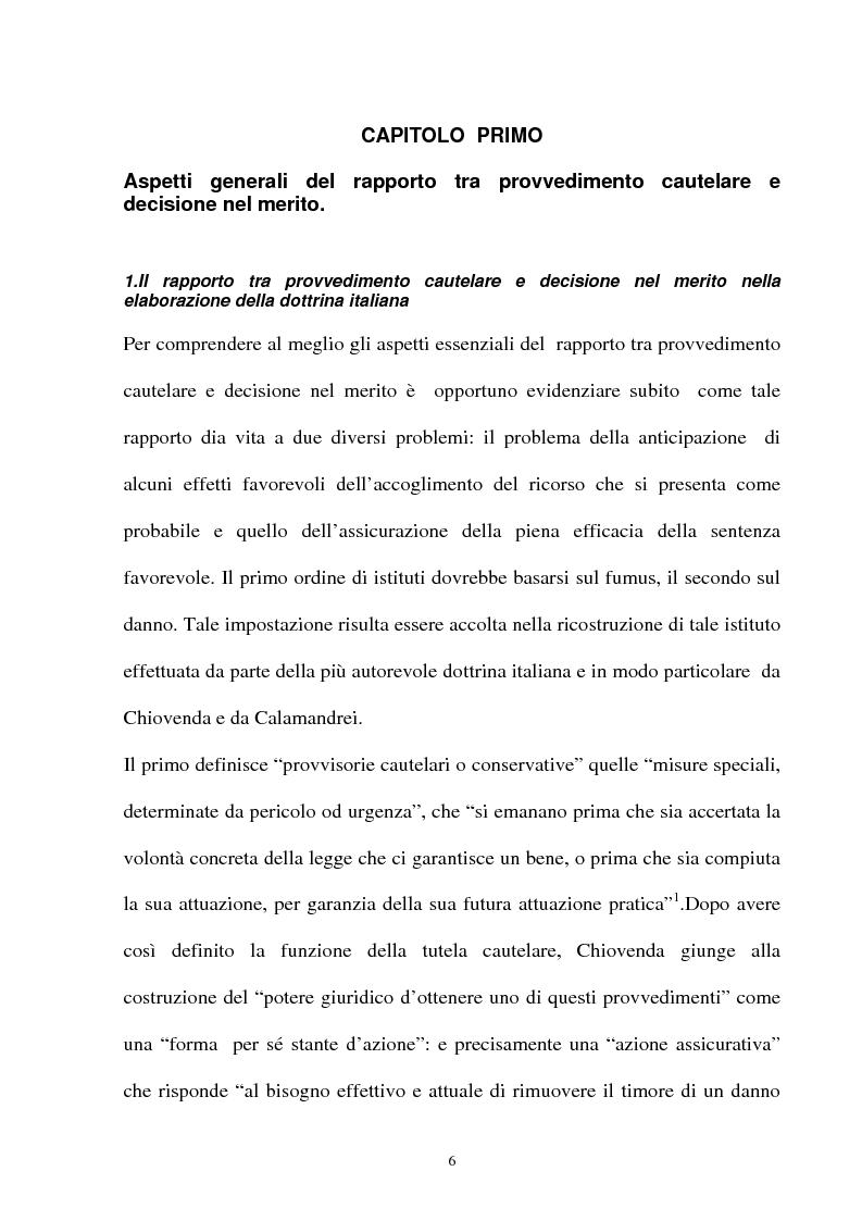 Anteprima della tesi: Provvedimento cautelare e decisione nel merito, Pagina 3