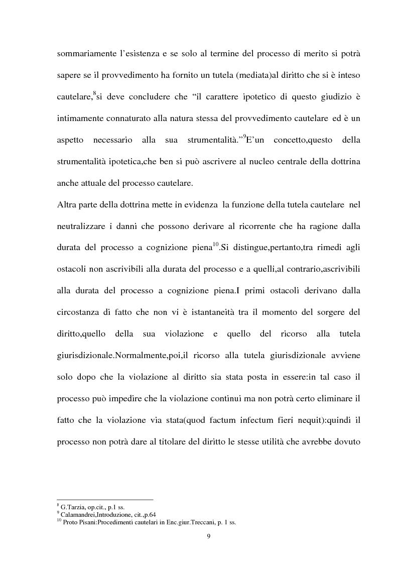 Anteprima della tesi: Provvedimento cautelare e decisione nel merito, Pagina 6