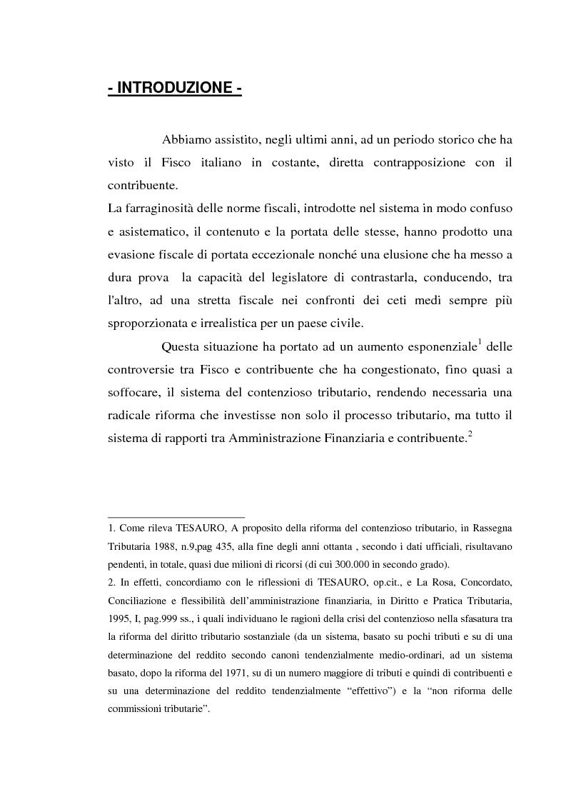 Anteprima della tesi: Accertamento con adesione e conciliazione giudiziale nel sistema tributario, Pagina 1
