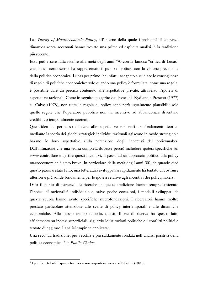 Anteprima della tesi: Il problema della credibilità delle politiche pubbliche, Pagina 2