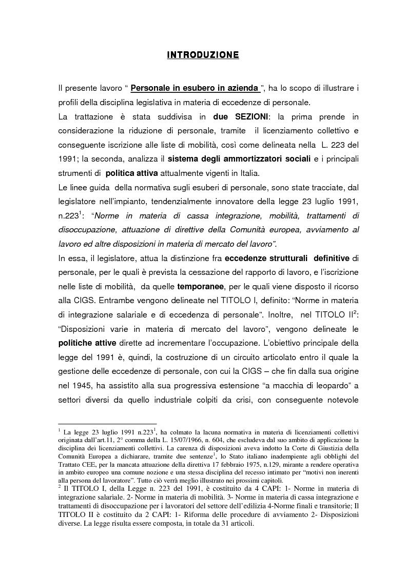 Anteprima della tesi: Personale in esubero in azienda, Pagina 1