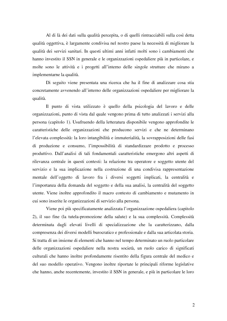 Anteprima della tesi: Migliorare la qualità nei servizi ospedalieri. Una ricerca di psicologia applicata, Pagina 2
