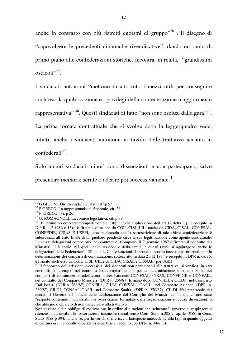 Anteprima della tesi: La rappresentatività negoziale del sindacato nel pubblico impiego, Pagina 11