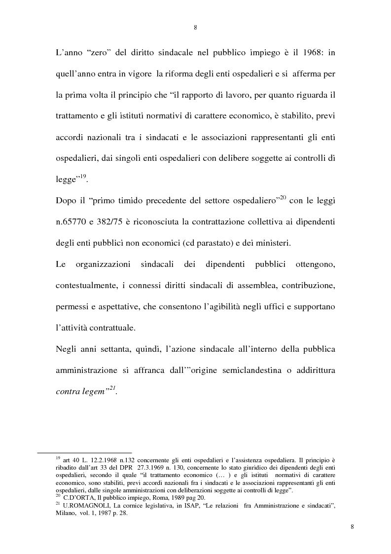 Anteprima della tesi: La rappresentatività negoziale del sindacato nel pubblico impiego, Pagina 7