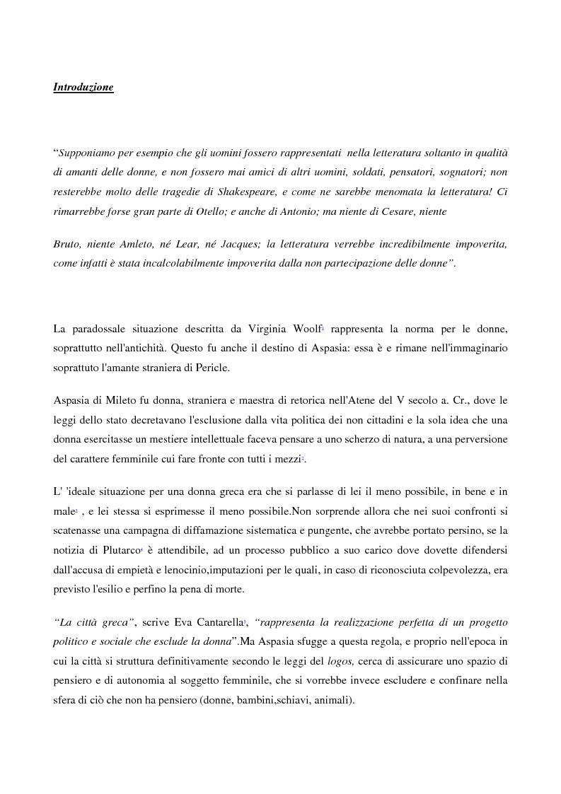 Anteprima della tesi: A scuola da Aspasia: uomini e donne tra retorica e politica nell'Atene del V secolo a.C., Pagina 1
