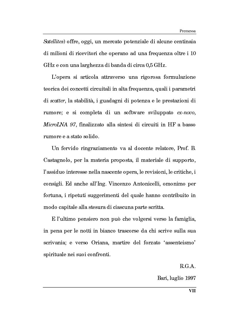 Anteprima della tesi: Un approccio CAD alla progettazione di sistemi amplificatori a microonde a basso rumore a stato solido nelle bande X, K, Pagina 2