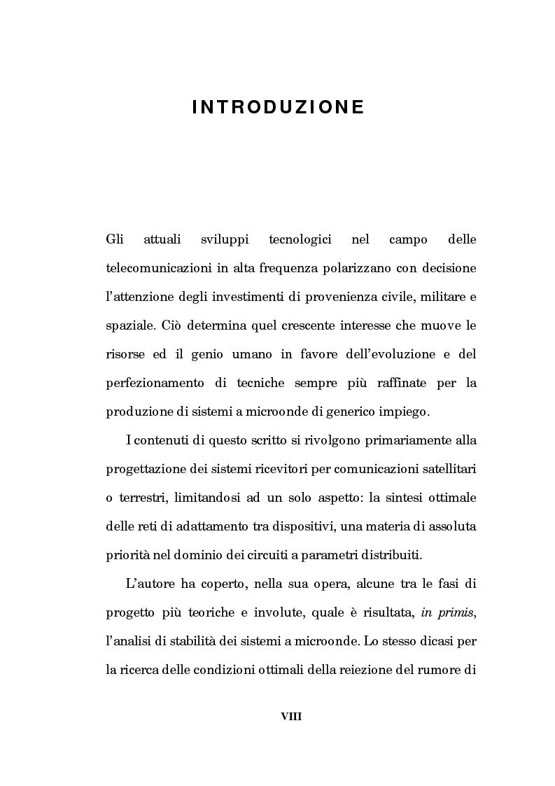 Anteprima della tesi: Un approccio CAD alla progettazione di sistemi amplificatori a microonde a basso rumore a stato solido nelle bande X, K, Pagina 3