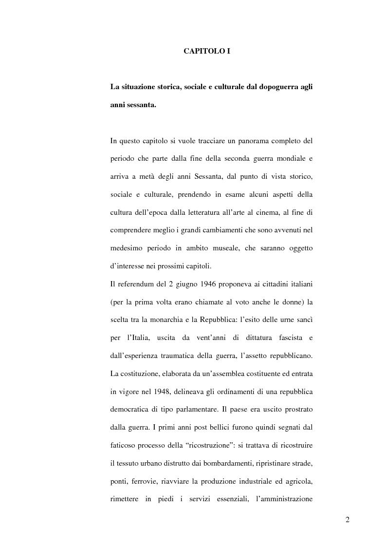 Anteprima della tesi: Il dibattito museologico dal dopoguerra agli anni sessanta e i suoi esiti nella cultura legislativa, Pagina 1