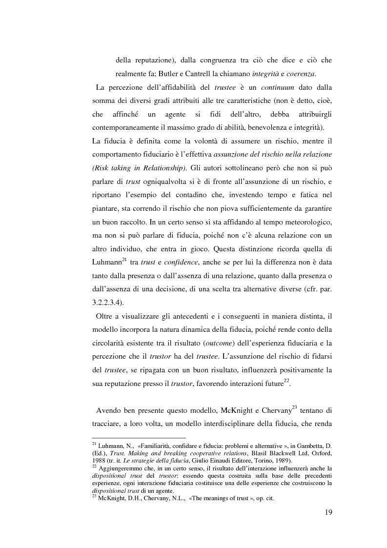 Anteprima della tesi: Le relazioni di fiducia nella gestione della conoscenza nelle organizzazioni, Pagina 13