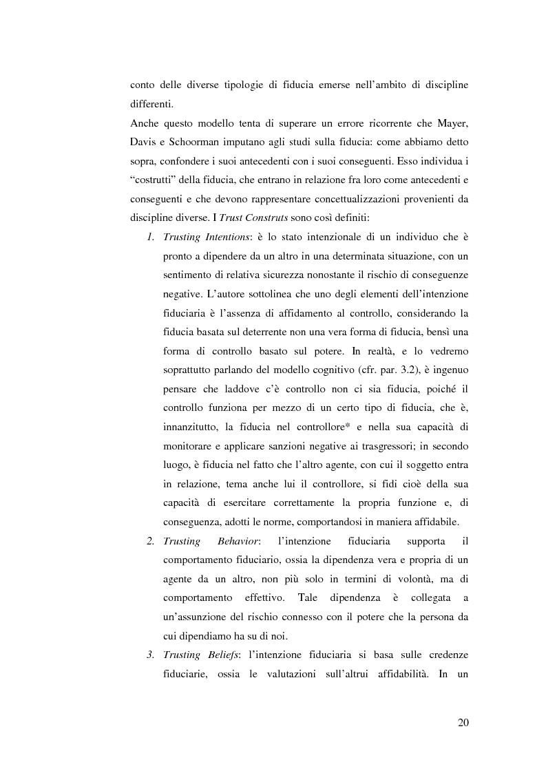 Anteprima della tesi: Le relazioni di fiducia nella gestione della conoscenza nelle organizzazioni, Pagina 14