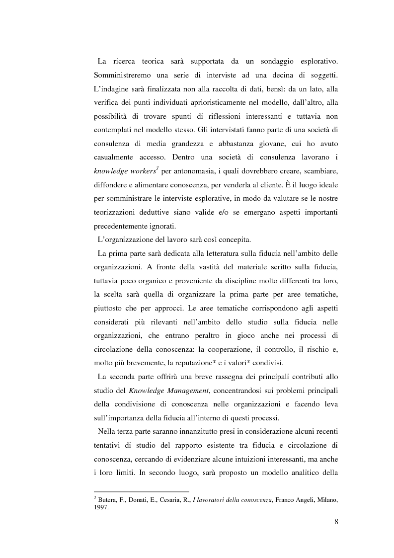 Anteprima della tesi: Le relazioni di fiducia nella gestione della conoscenza nelle organizzazioni, Pagina 2