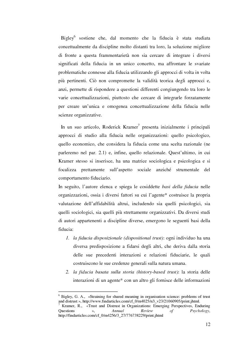 Anteprima della tesi: Le relazioni di fiducia nella gestione della conoscenza nelle organizzazioni, Pagina 6