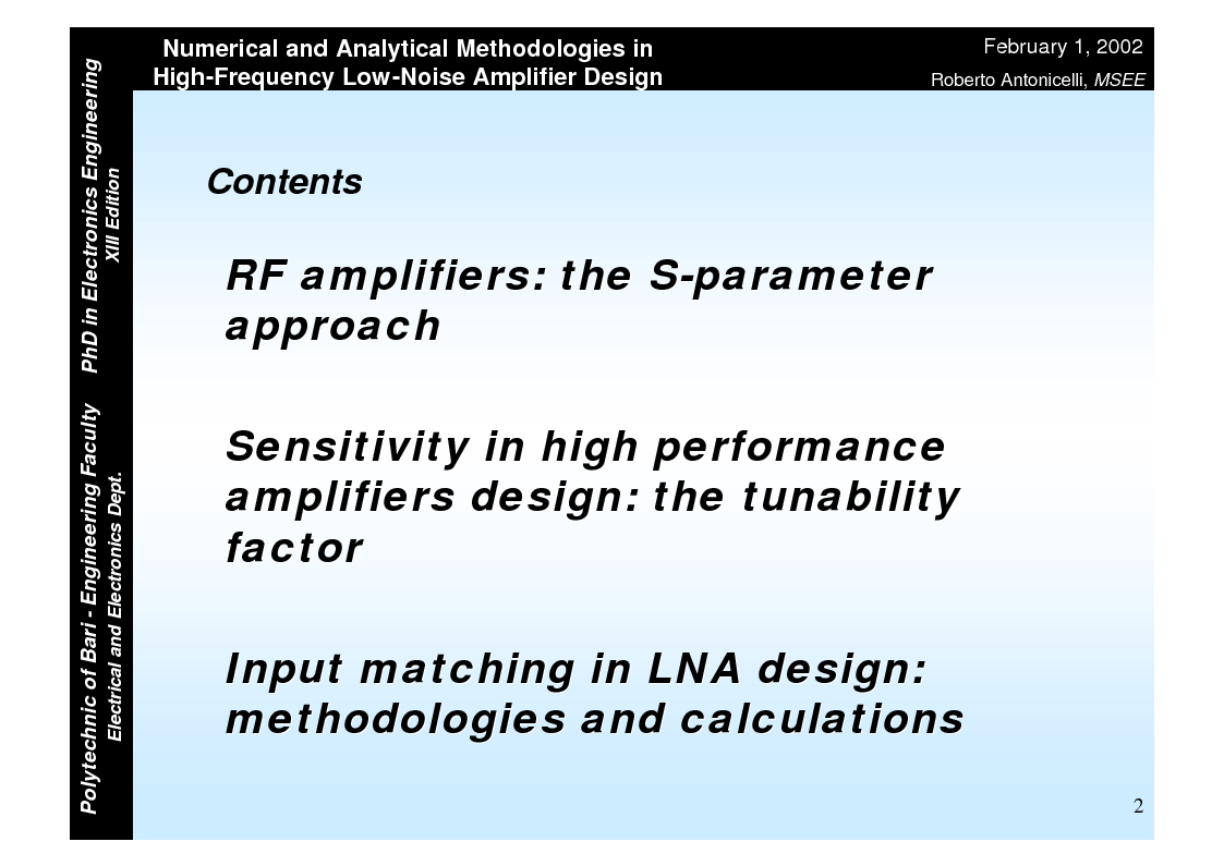 Anteprima della tesi: Numerical and Analytical Methodologies in High-Frequency Low-Noise Amplifier Design, Pagina 2
