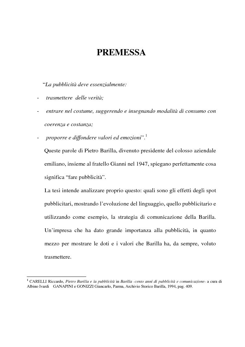 Anteprima della tesi: L'evoluzione del linguaggio pubblicitario della Barilla (dal 1910 al 2001), Pagina 1