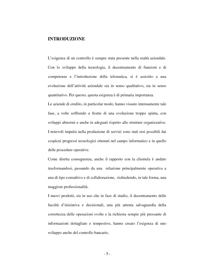Anteprima della tesi: La funzione del controllo in banca, Pagina 1