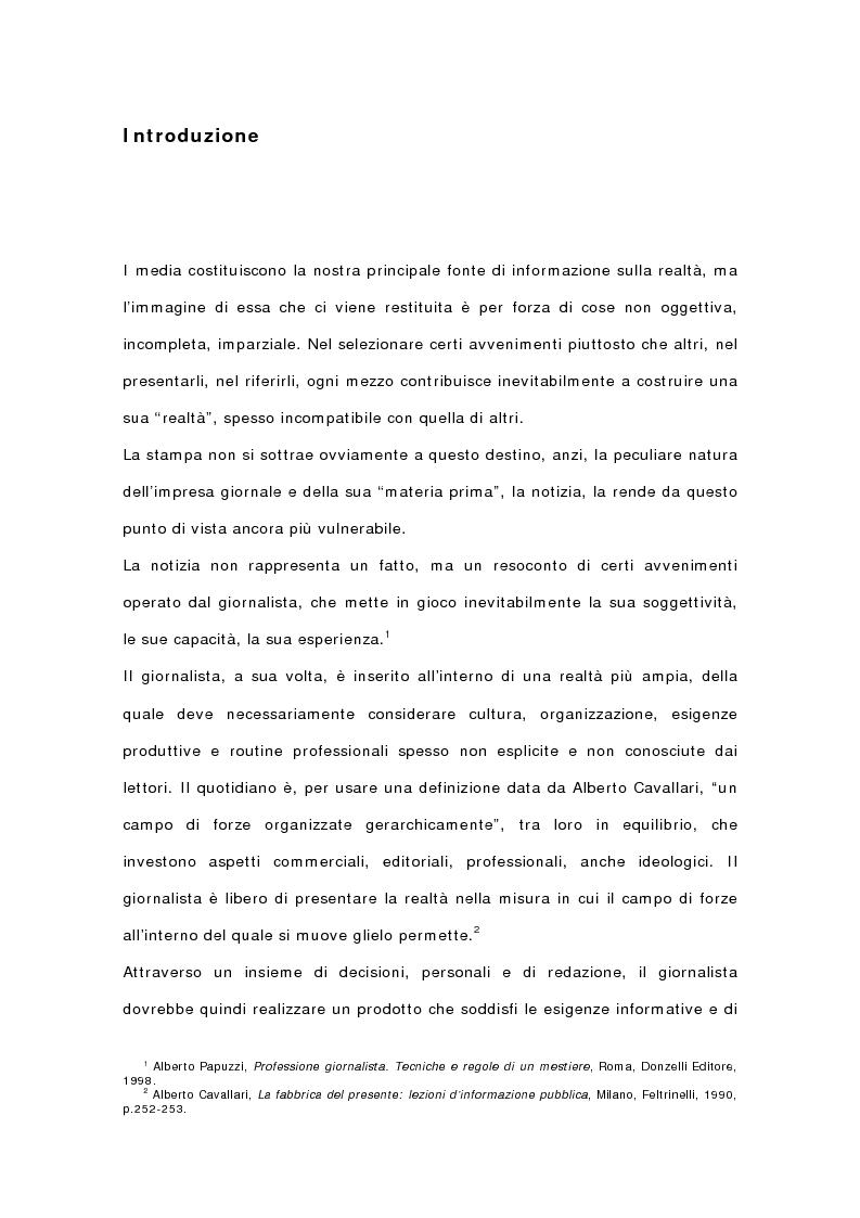 Anteprima della tesi: I quotidiani italiani e le votazioni del 13 maggio 2001: la campagna elettorale di Silvio Berlusconi, Pagina 1