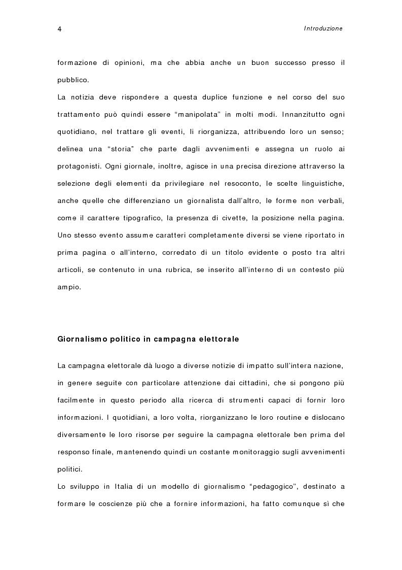 Anteprima della tesi: I quotidiani italiani e le votazioni del 13 maggio 2001: la campagna elettorale di Silvio Berlusconi, Pagina 2