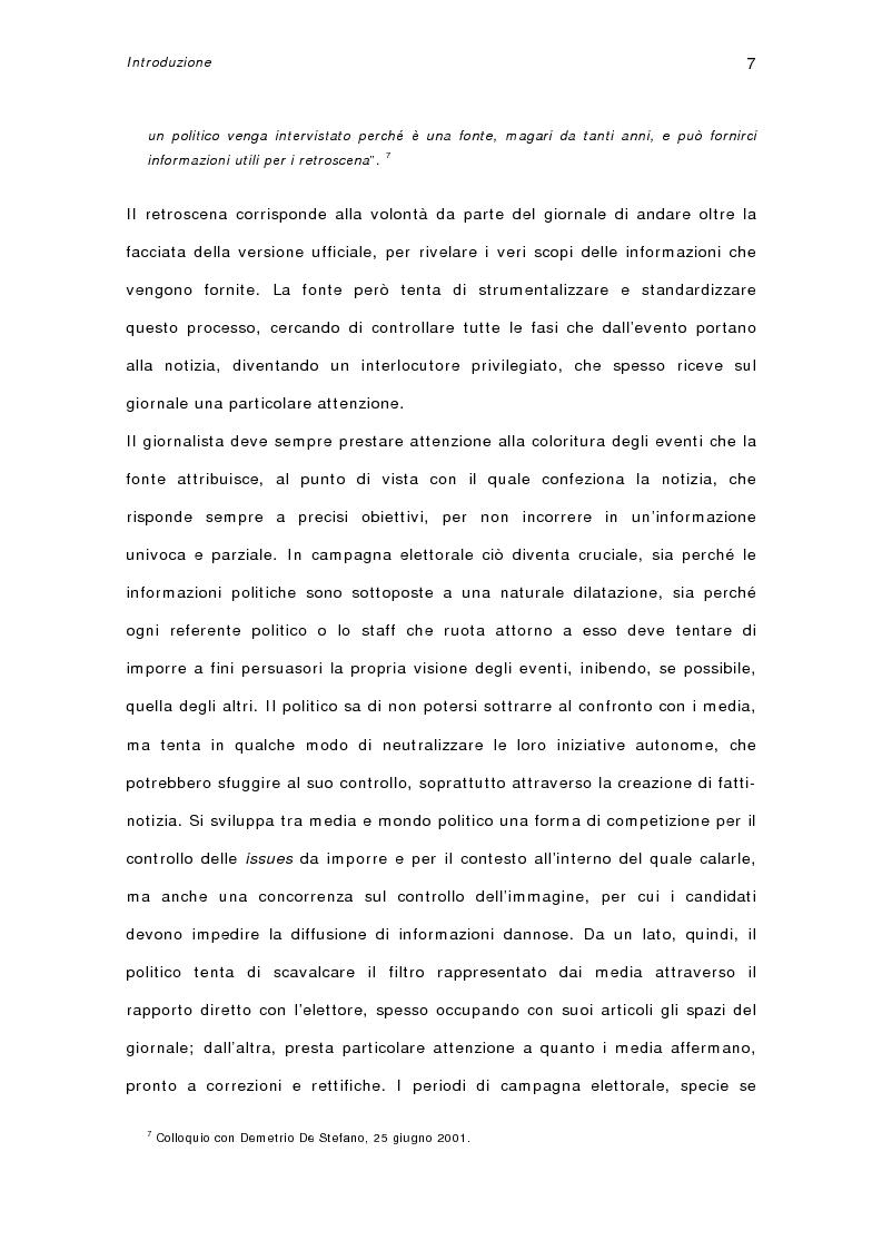 Anteprima della tesi: I quotidiani italiani e le votazioni del 13 maggio 2001: la campagna elettorale di Silvio Berlusconi, Pagina 5