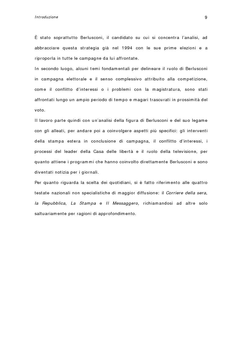 Anteprima della tesi: I quotidiani italiani e le votazioni del 13 maggio 2001: la campagna elettorale di Silvio Berlusconi, Pagina 7
