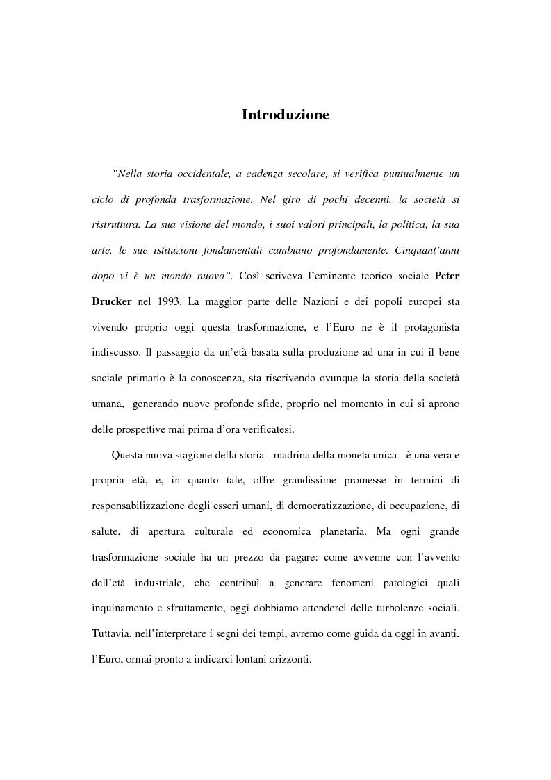 Anteprima della tesi: L'euro e i cittadini: aspettative e timori, Pagina 1