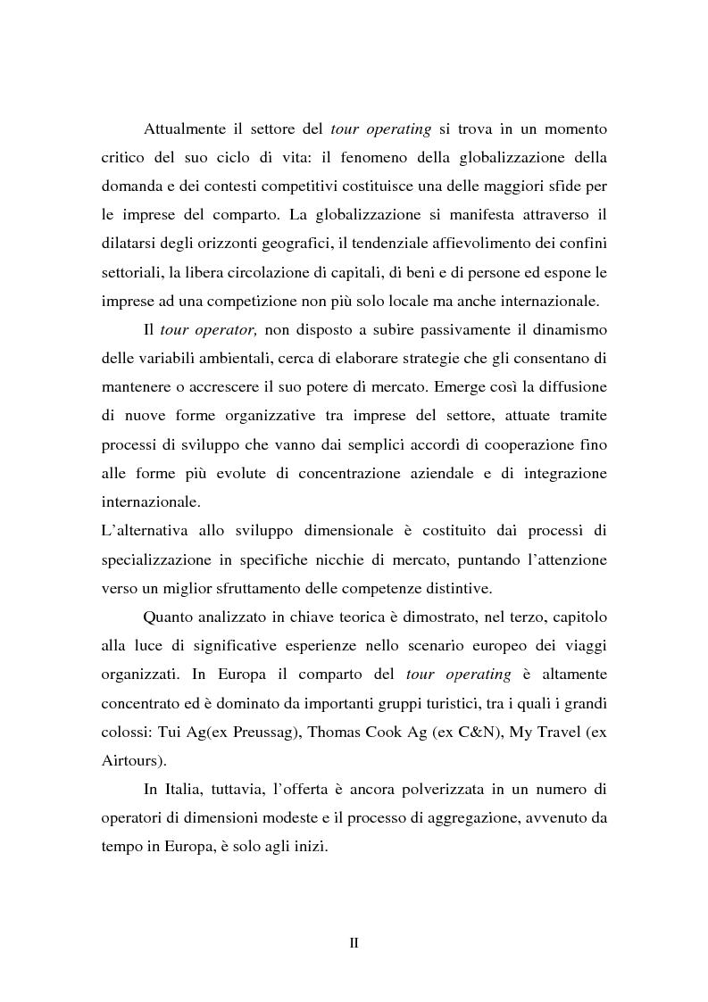Anteprima della tesi: L'evoluzione della figura del tour operator: processi di concentrazione e specializzazione, Pagina 2