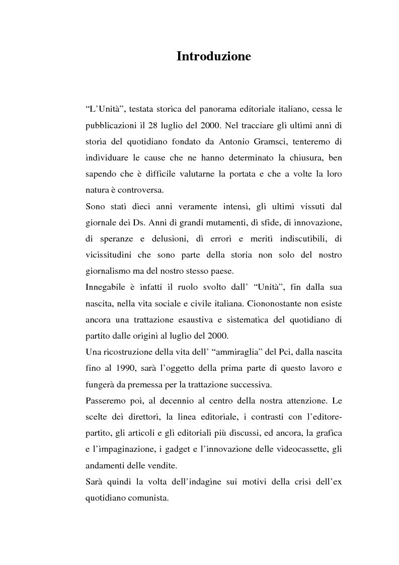 Anteprima della tesi: ''L'Unità'' dal 1990 al 2000. Il perché di una crisi, Pagina 1