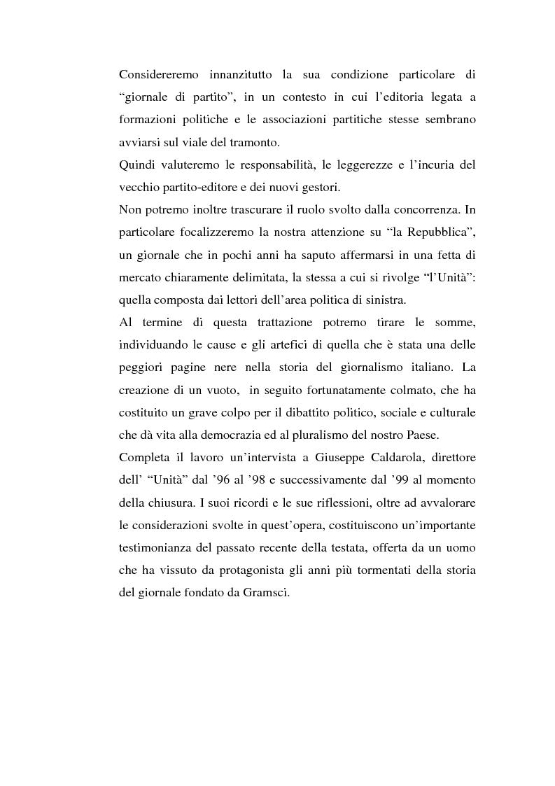 Anteprima della tesi: ''L'Unità'' dal 1990 al 2000. Il perché di una crisi, Pagina 2