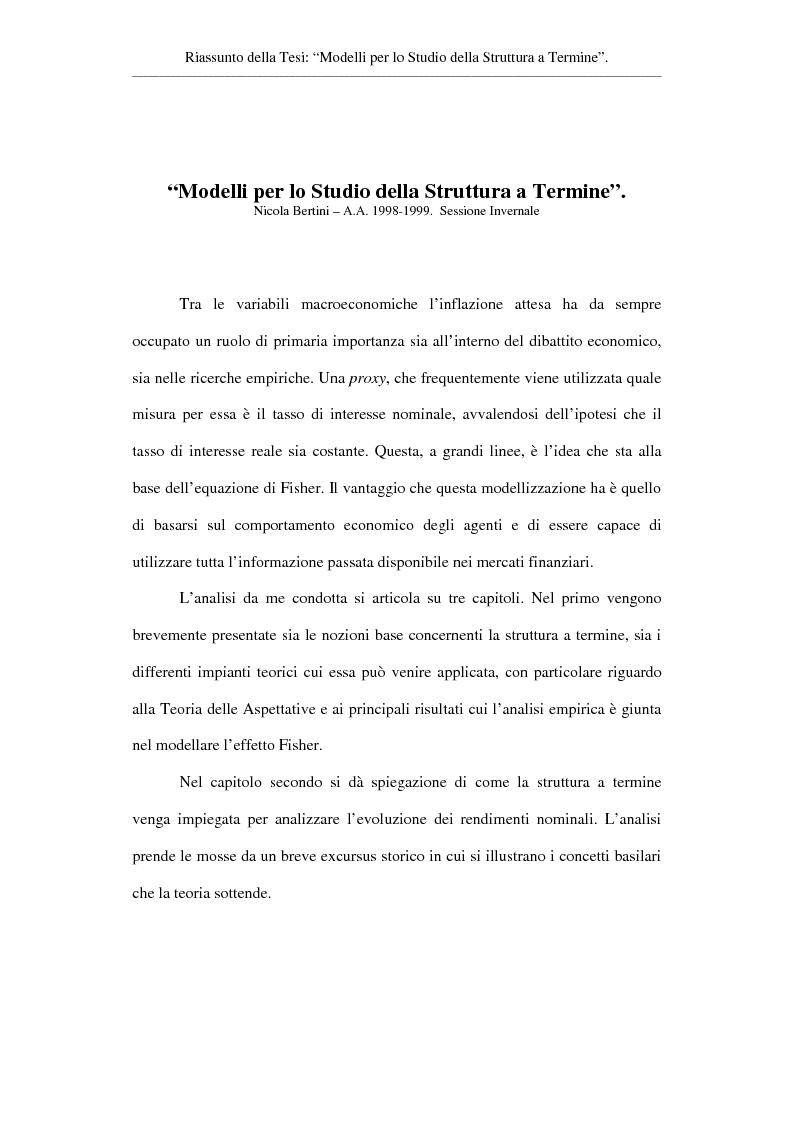 Anteprima della tesi: Modelli per lo studio della struttura a termine, Pagina 1