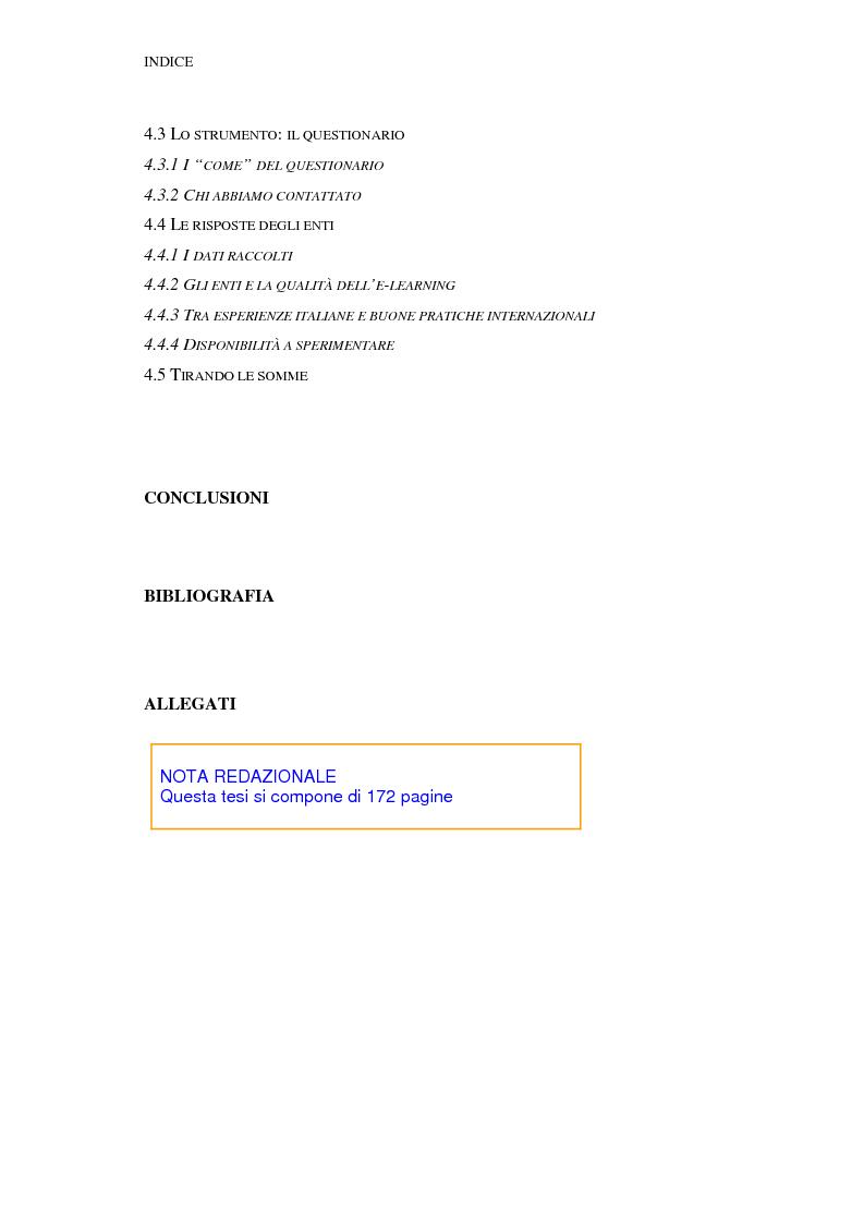 Indice della tesi: Qualità dell'e-learning. Esperienze italiane e buone pratiche internazionali, Pagina 4