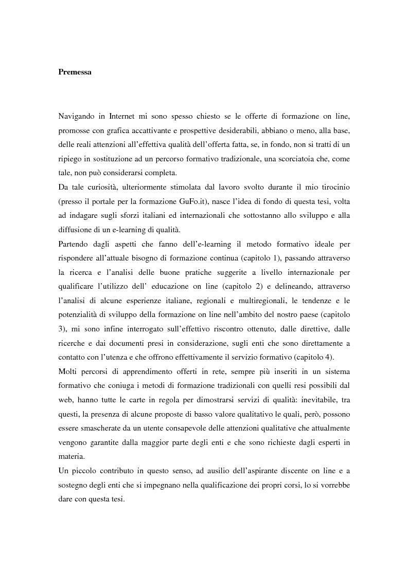 Anteprima della tesi: Qualità dell'e-learning. Esperienze italiane e buone pratiche internazionali, Pagina 1