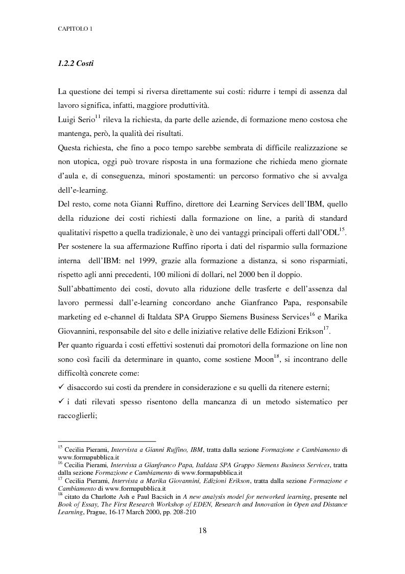 Anteprima della tesi: Qualità dell'e-learning. Esperienze italiane e buone pratiche internazionali, Pagina 11