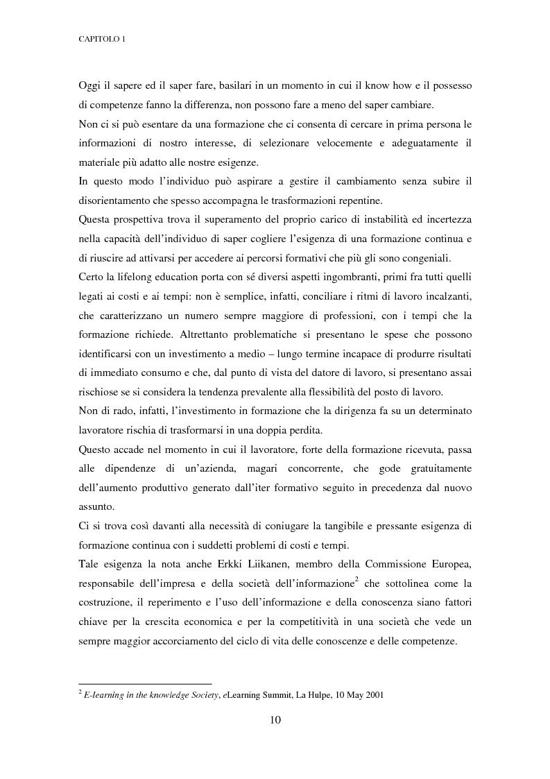 Anteprima della tesi: Qualità dell'e-learning. Esperienze italiane e buone pratiche internazionali, Pagina 3