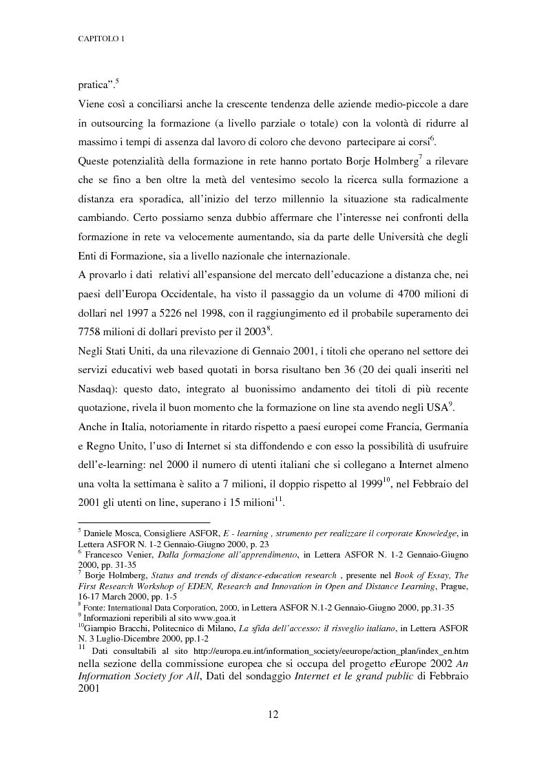 Anteprima della tesi: Qualità dell'e-learning. Esperienze italiane e buone pratiche internazionali, Pagina 5