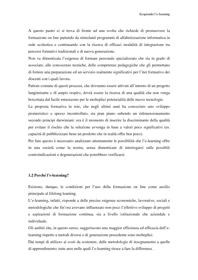 Anteprima della tesi: Qualità dell'e-learning. Esperienze italiane e buone pratiche internazionali, Pagina 6